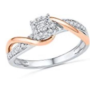 Sterling Silver With 10KT Diamond Promise Ring